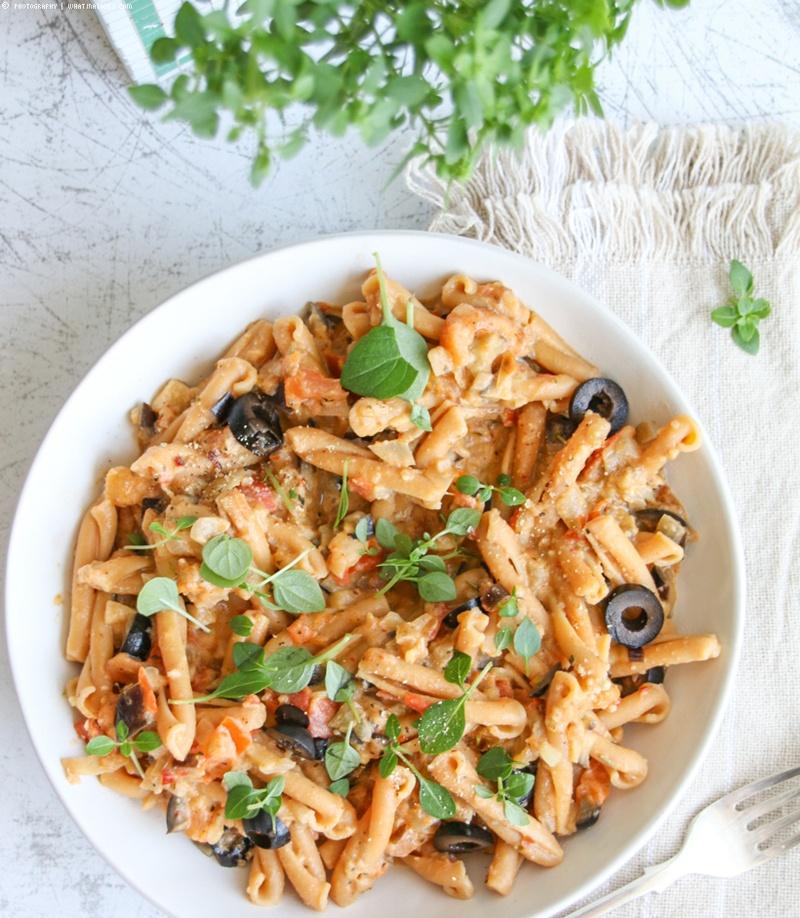 Rezept cremige Auberginen-Tomaten-Pasta