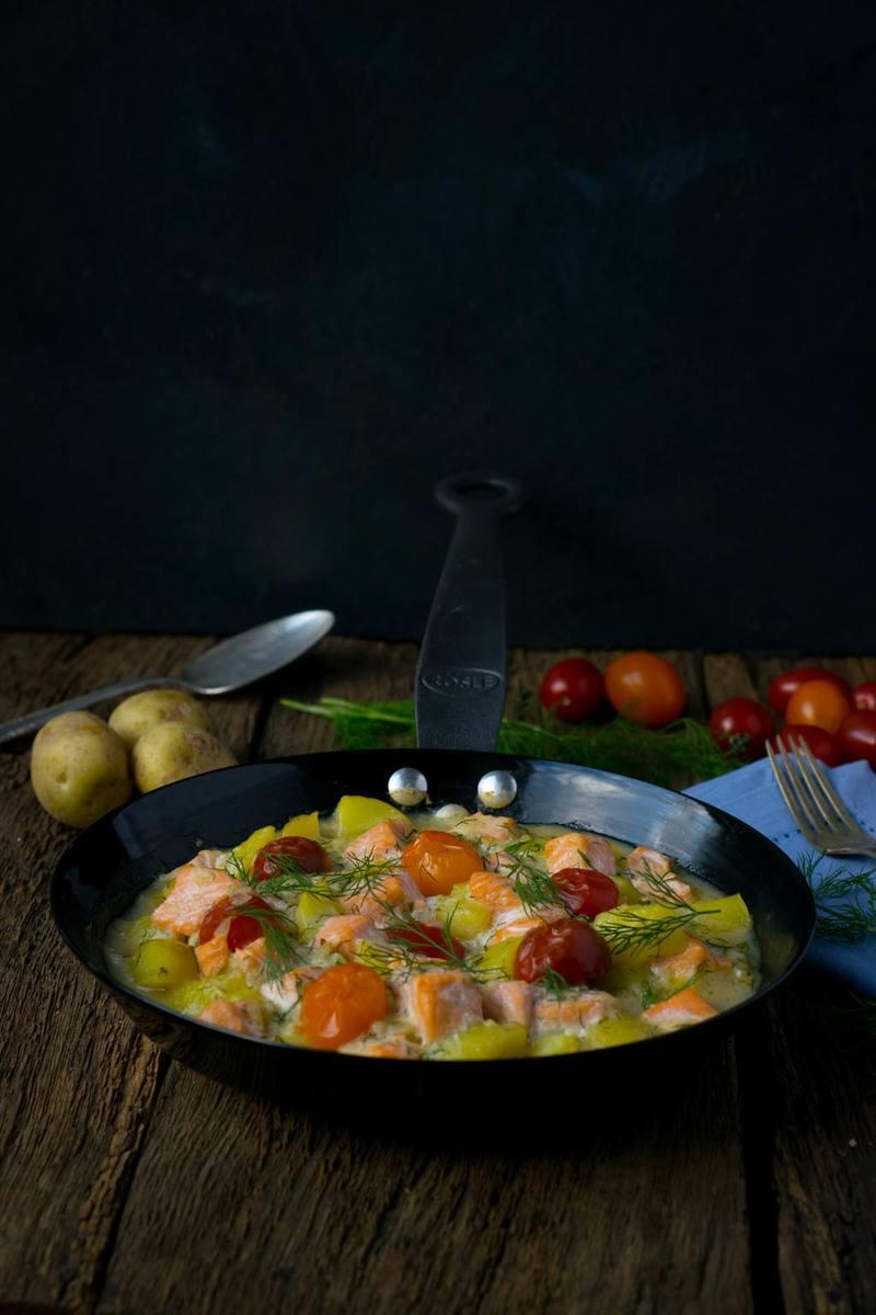 Rezept Cremige Kartoffel Lachs Pfanne mit Dill