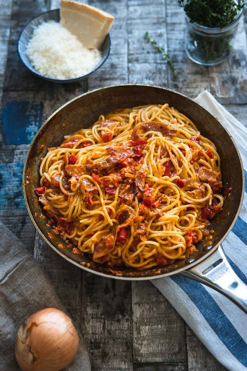 Rezept Cremige Spaghetti Paprika Carbonara