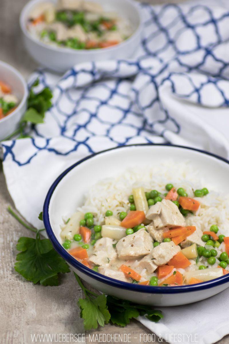 Rezept Cremiges Hühnerfrikassee mit Gemüse und Reis