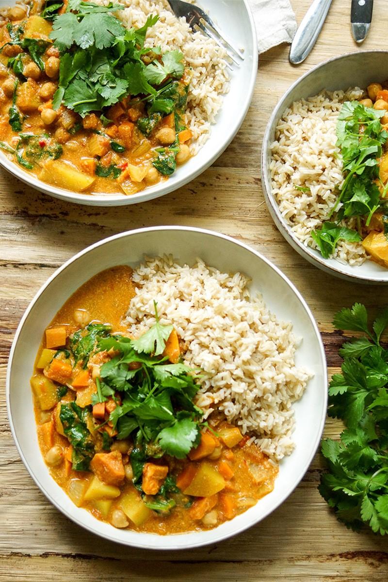 Rezept Cremiges Kokos Kichererbsen Curry mit Süßkartoffel