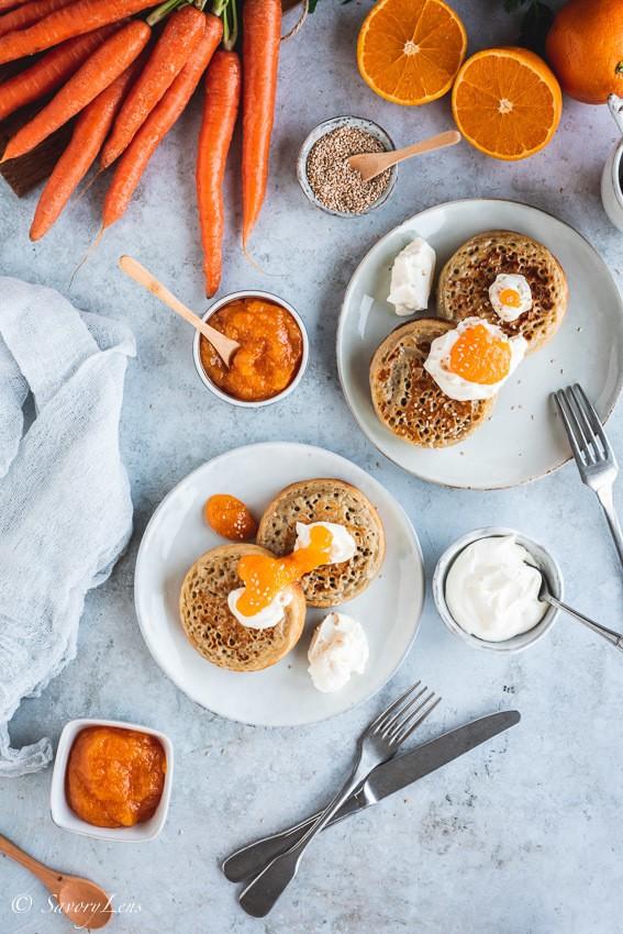 Rezept Crumpets mit Frischkäse und Orangen-Möhren-Marmelade