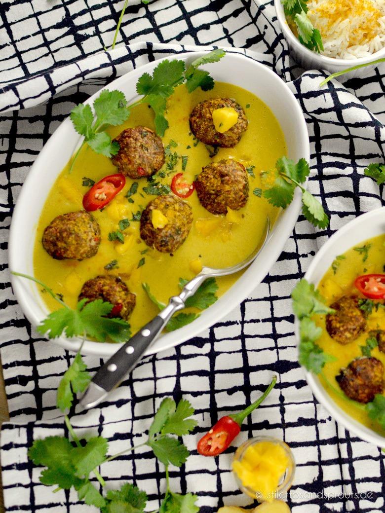 Rezept Curry Hackbällchen in Mangosauce