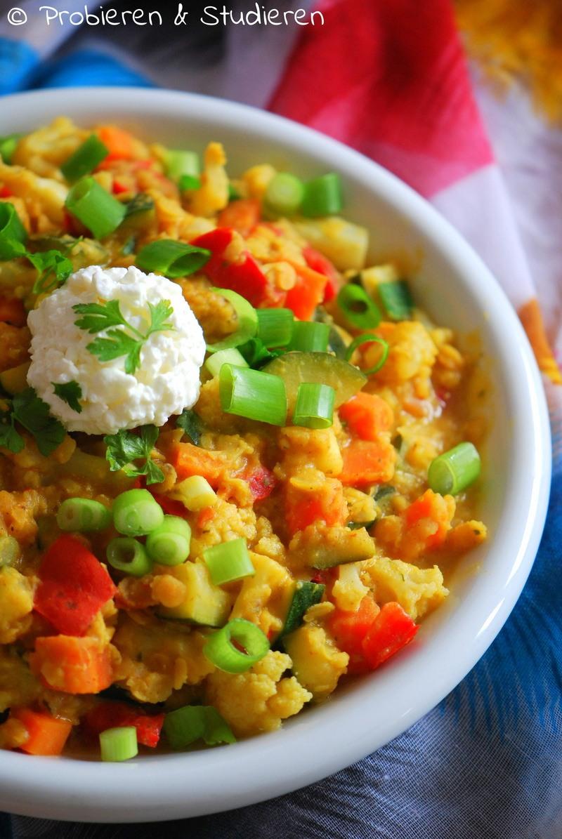 Rezept Curry mit roten Linsen, Zucchini und Blumenkohl [Masur Dal]