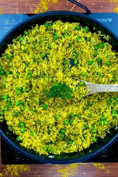 Rezept Curry-Reispfanne mit Erbsen