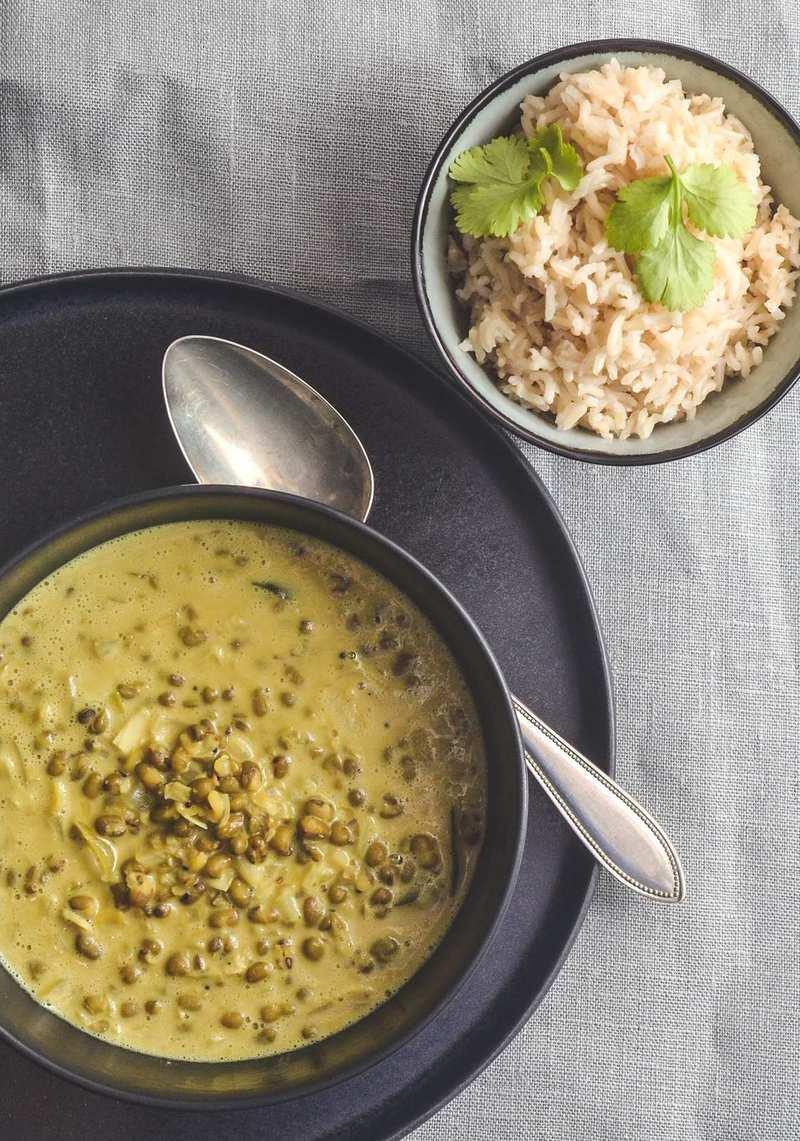 Rezept Dal mit grünen Mungobohnen und Kokosmilch