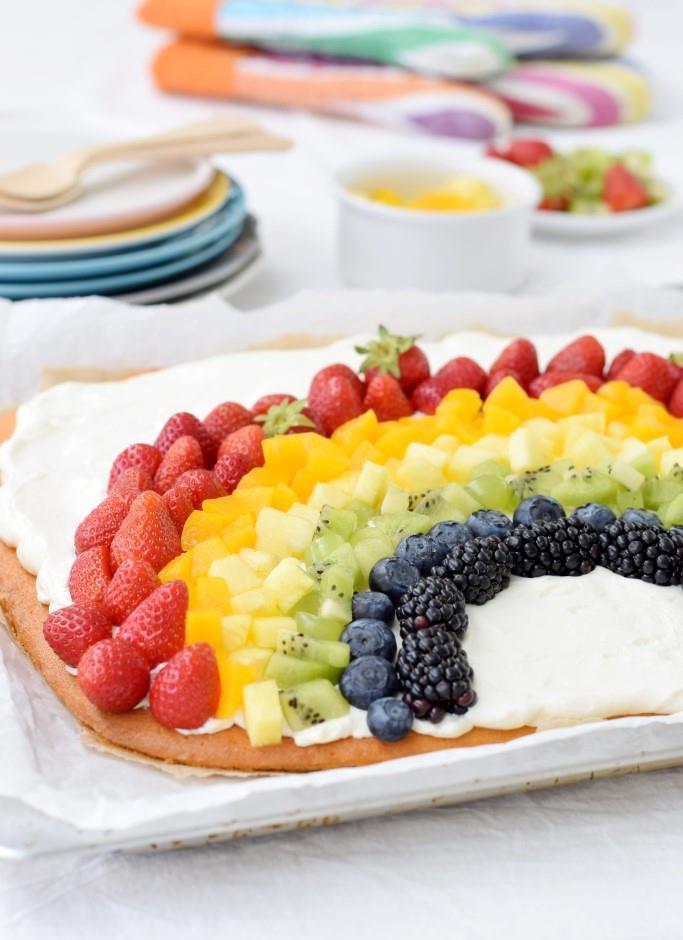 Rezept Der Alles-wird-gut Regenbogen-Obstkuchen