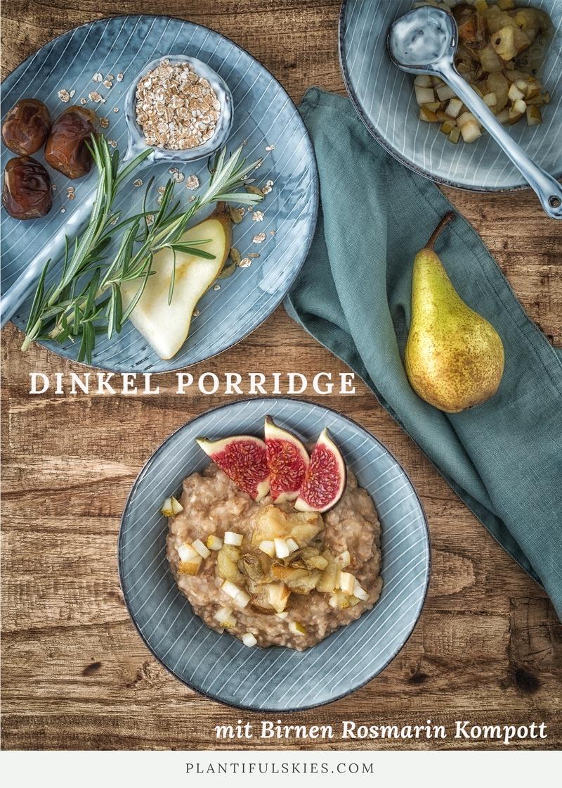 Rezept Dinkel Porridge mit Birnen-Rosmarin Kompott