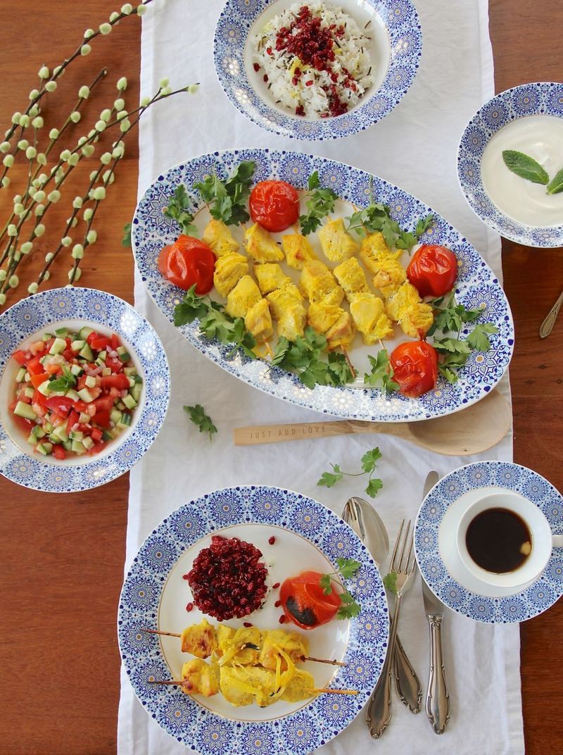 Rezept Djudje Kabab für Sizdah be dar -persisches Hühnchen in Safran-Zitronen-Marinade