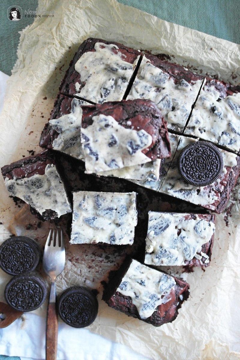 Rezept Double Chocolate Cookies and Cream Oreo Brownies
