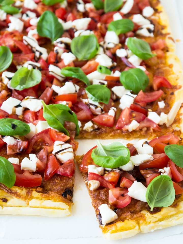 Rezept Easy Flatbread Caprese Pizza