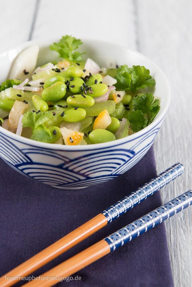 Rezept Edamame-Fenchel-Salat mit Sellerie und kandierten Zitronen