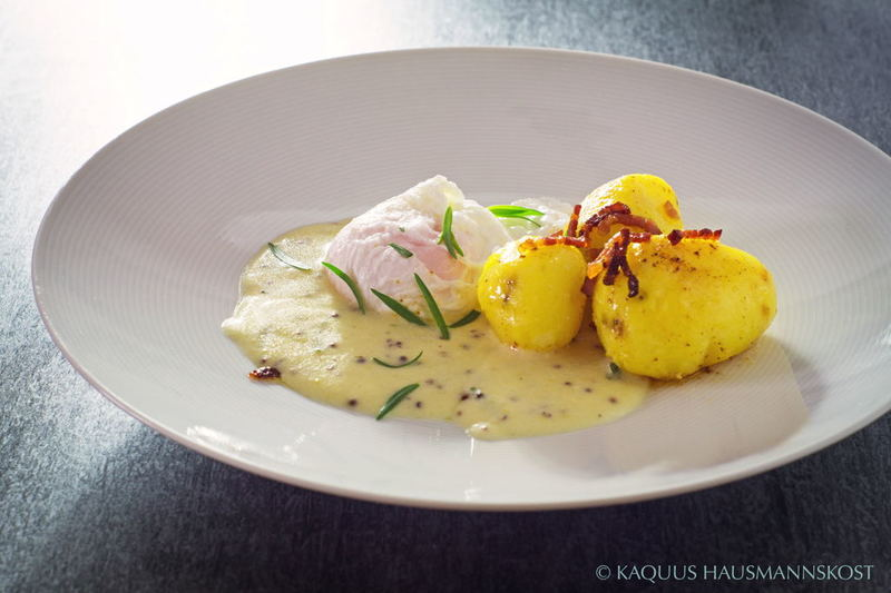 Rezept Eier in Senfsauce mit Speckkartoffeln