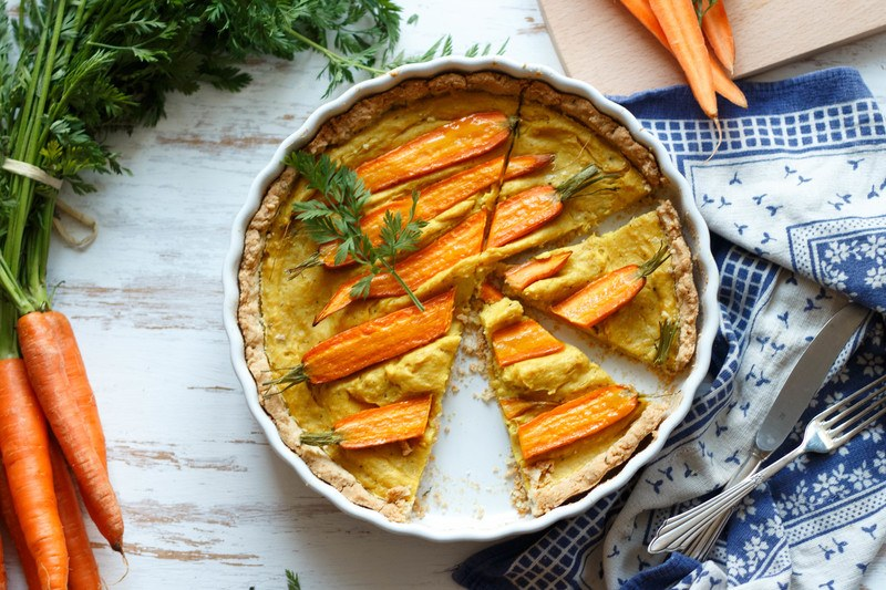 Rezept Eifreie Quiche mit Kichererbsenmehl und Karotten