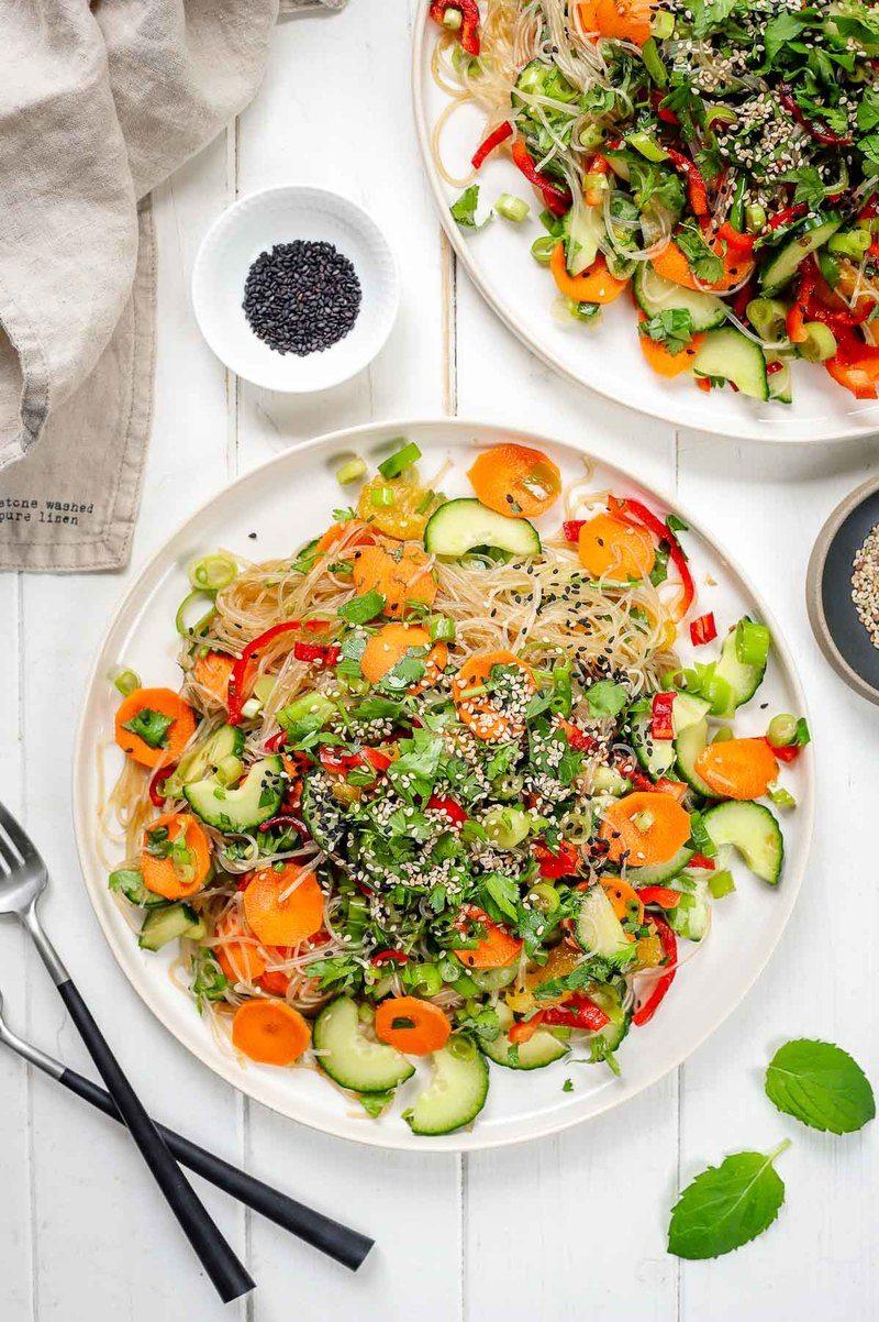 Rezept Einfacher Glasnudelsalat mit Gemüse