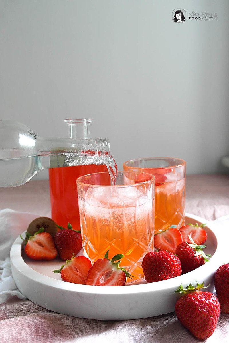 Rezept Erdbeer Gin selbst gemacht und Erdbeer Gin Tonic mit und ohne Alkohol