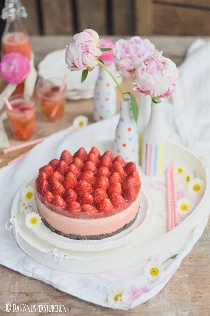Rezept Erdbeer No Bake Karamell-Cheesecake
