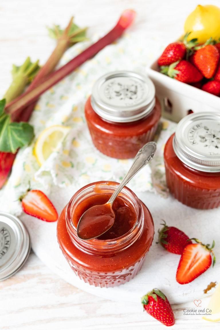 Rezept Erdbeer-Rhabarber-Konfitüre mit Holunder