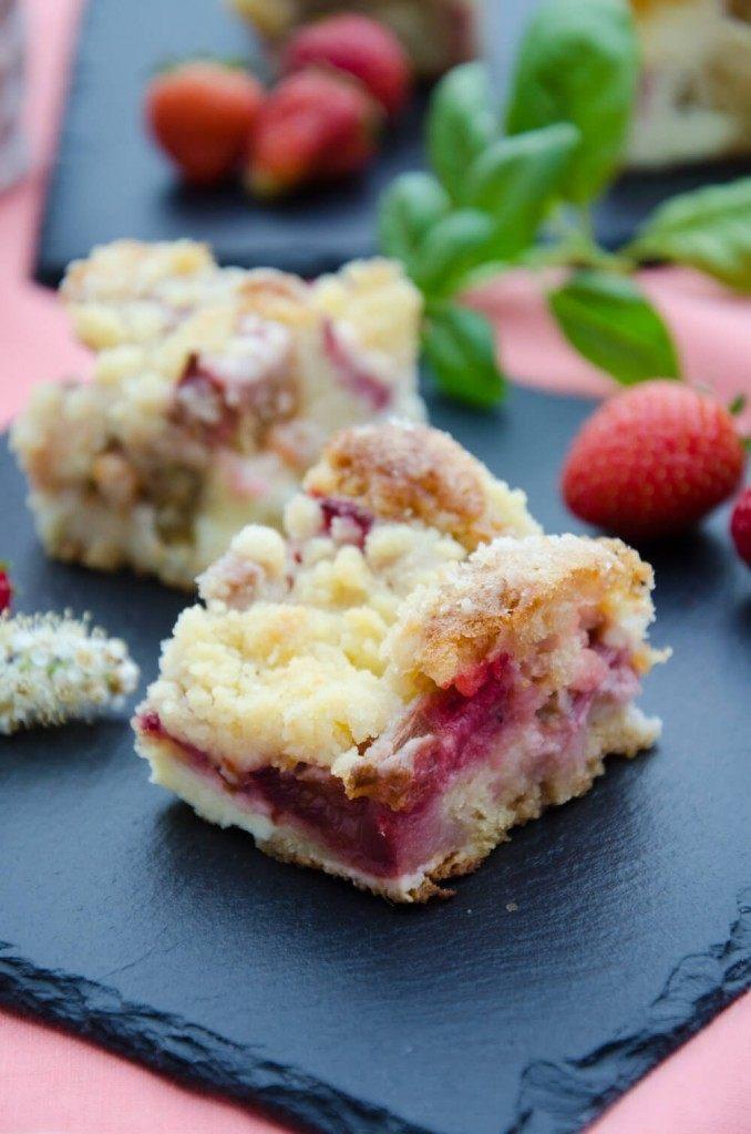 Rezept Erdbeer-Rhabarber Topfenschnitten mit Streuseln