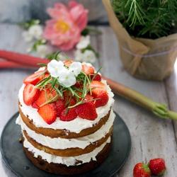 Rezept Erdbeer - Rhabarber - Torte mit weißer Schokolade - Rosmarin - Swiss meringue Buttercreme