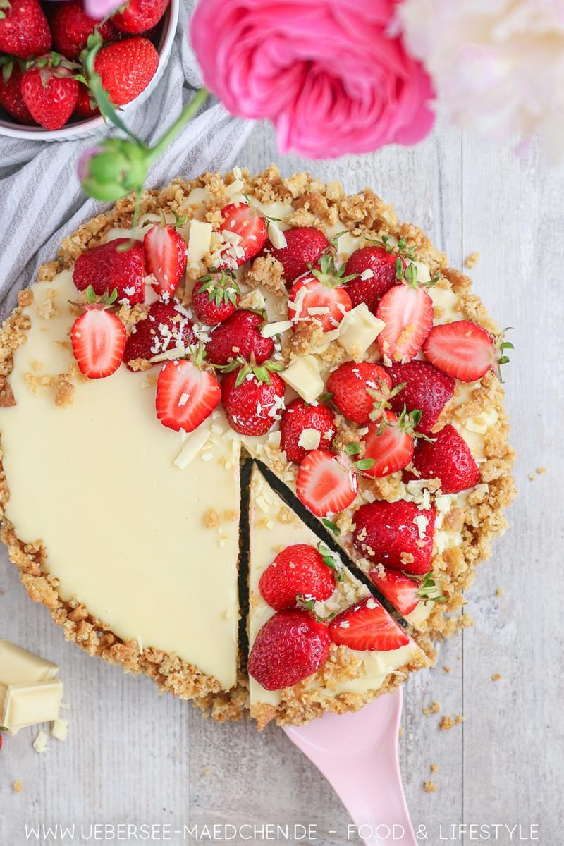 Rezept Erdbeer-Tarte ohne Backen mit Mascarpone & Schoko
