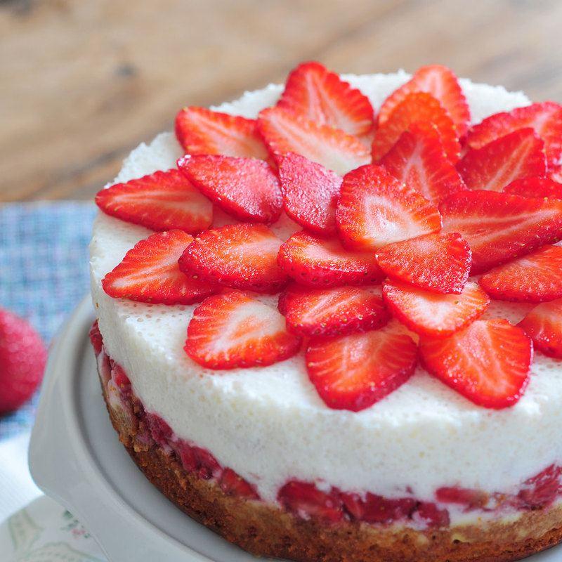 Rezept Erdbeere-Joghurt-Torte vegan & fructosearm