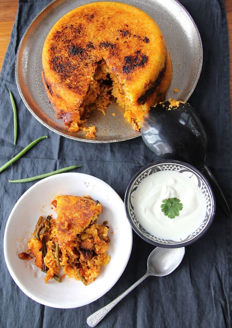 Rezept Estamboli Polo - persischer Reiskuchen mit Lammfleisch und grüne Bohnen