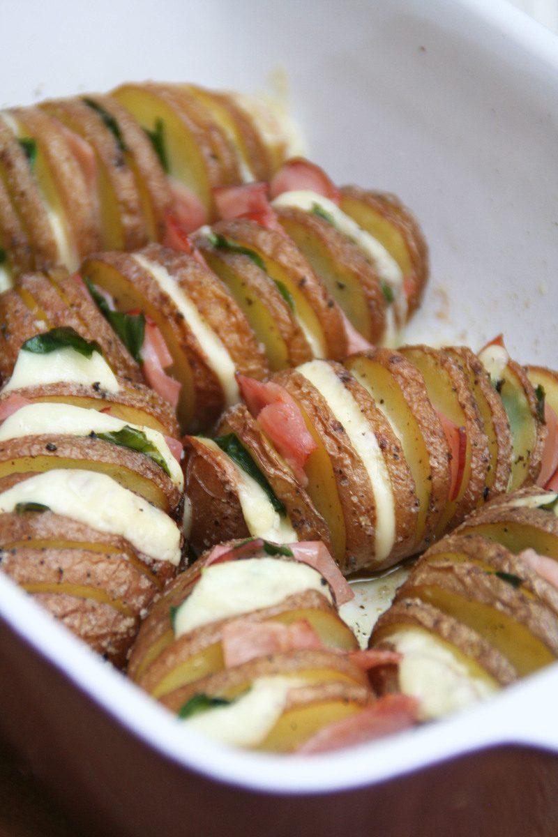 Rezept Fächer-Ofenkartoffeln mit Bärlauch-Schinken-Gauda-Füllung