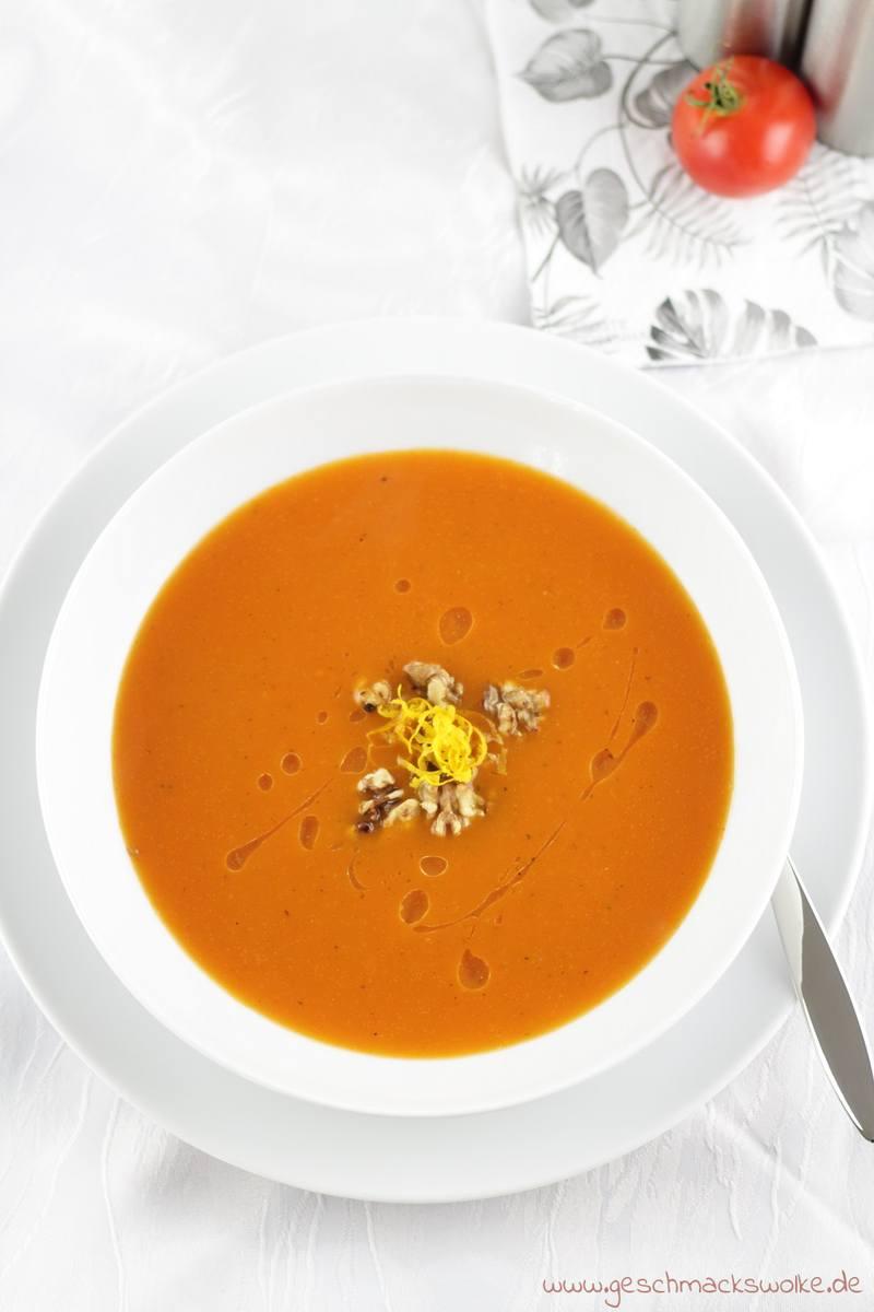 Rezept Feine Tomaten-Orangensuppe mit Walnüssen