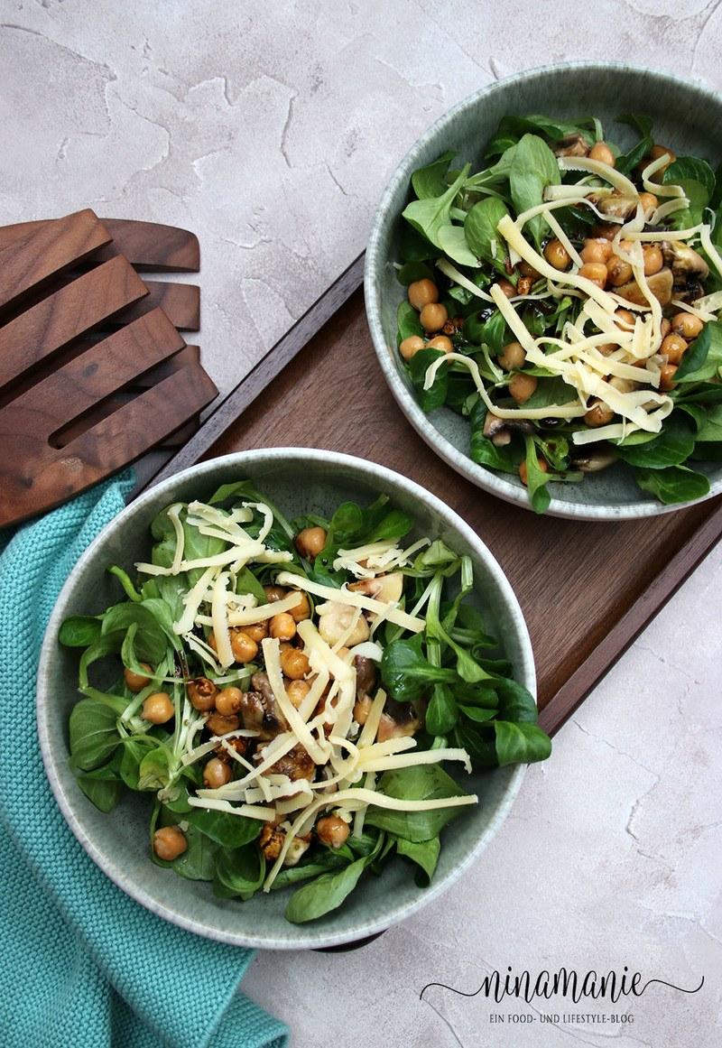 Rezept Feldsalat mit Kichererbsen und Champignons