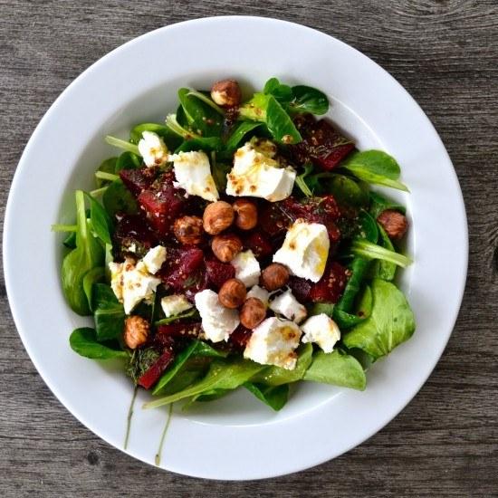 Rezept Feldsalat mit Roter Bete und Ziegenkäse