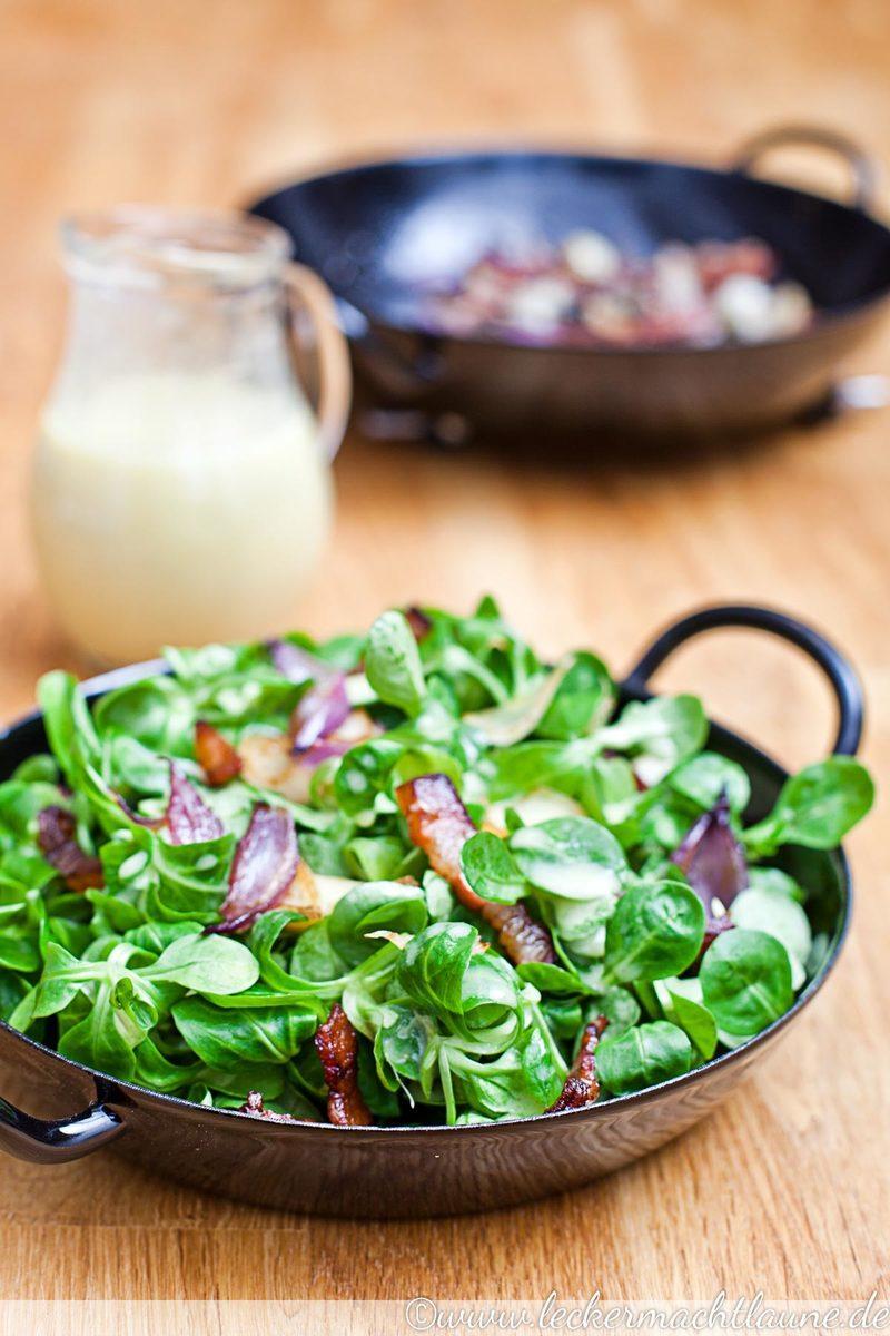 Rezept Feldsalat mit Speck und Orangendressing