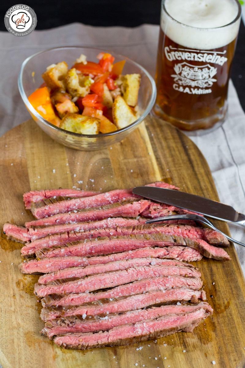 Rezept Flank Steak vom irischen Hereford Rind mit Tomaten-Brot-Salat