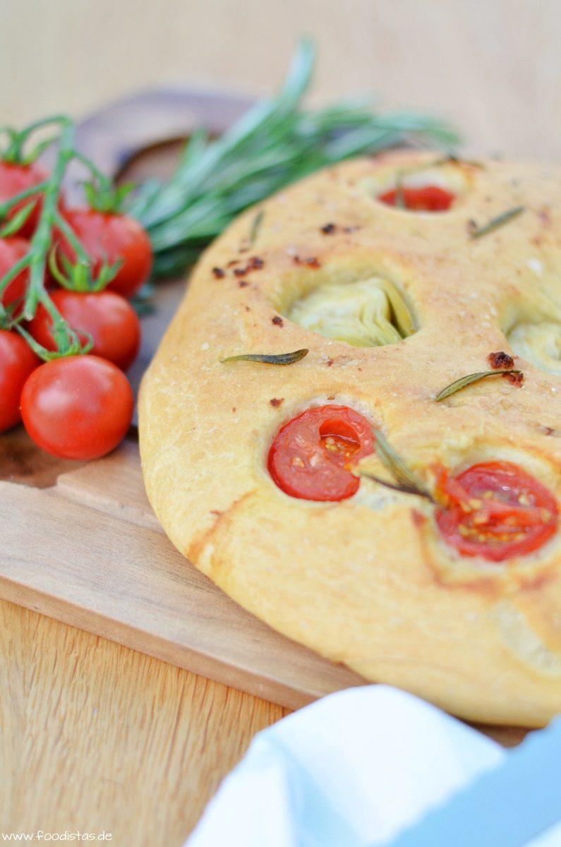 Rezept Fougasse mit Tomaten und Artischocken