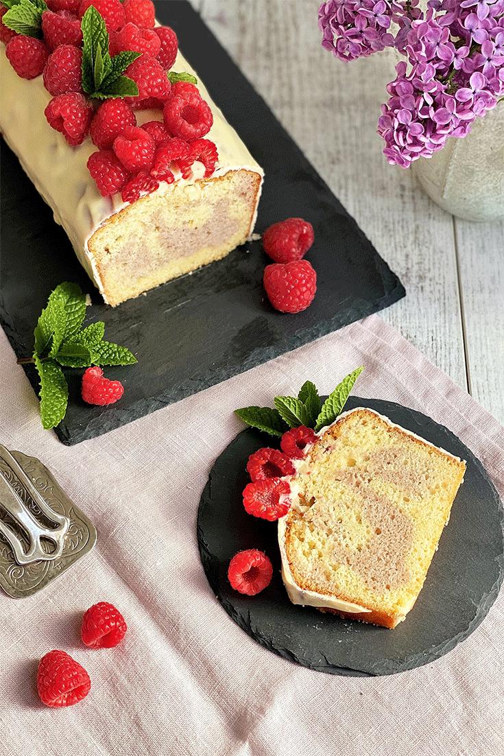 Rezept Französischer Himbeer-Marmorkuchen (Cake marbré framboise)