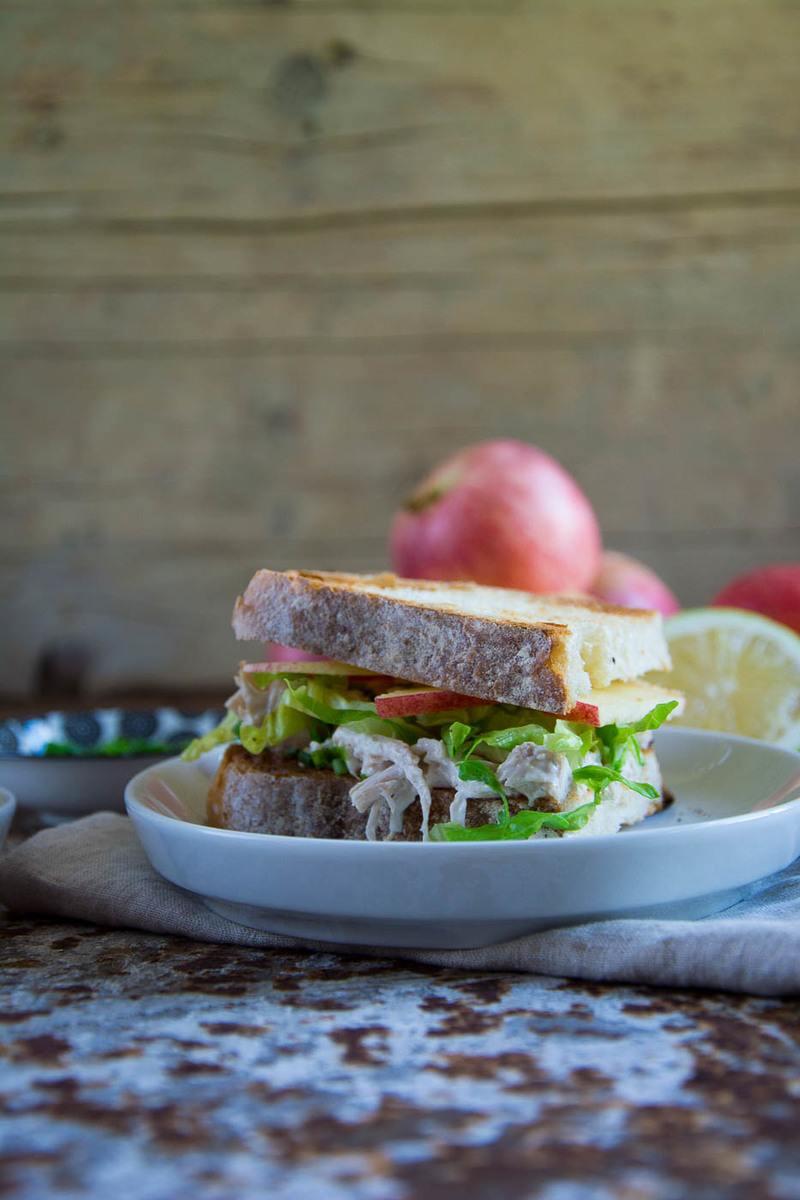 Rezept Fruchtiges Apfelsandwich mit Pulled Chicken Salad