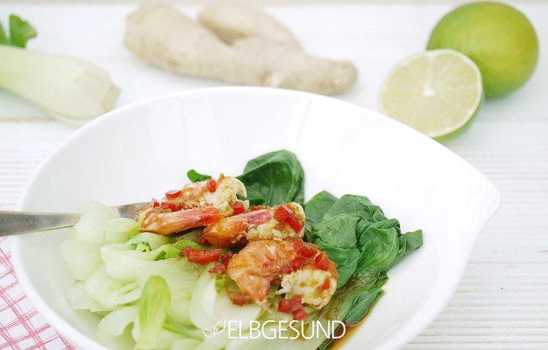 Rezept Garnelen auf Pak Choi mit traumhafter asiatischer Marinade nach Jamie Oliver