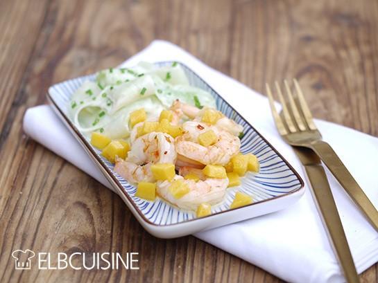 Rezept Garnelen mit Gurkensalat und Mangowürfeln nach Henssler Art