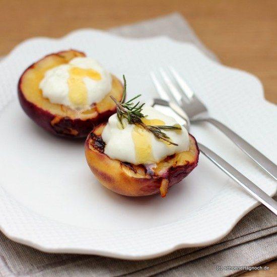 Rezept Gebackene Pfirsiche mit Rosmarinhonig