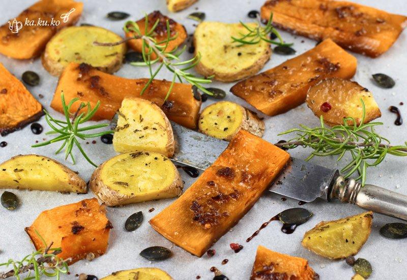 Rezept Gebackener Asia-Kürbis mit Rosmarin-Kartoffeln