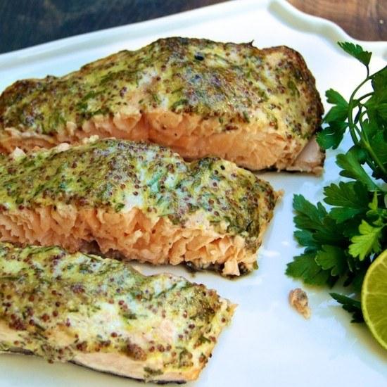 Rezept Gebackener Lachs mit Schnittlauch - Estragon Sauce