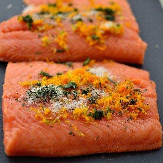 Rezept Gebeizter Lachs mit Orange, Estragon und Vanilla