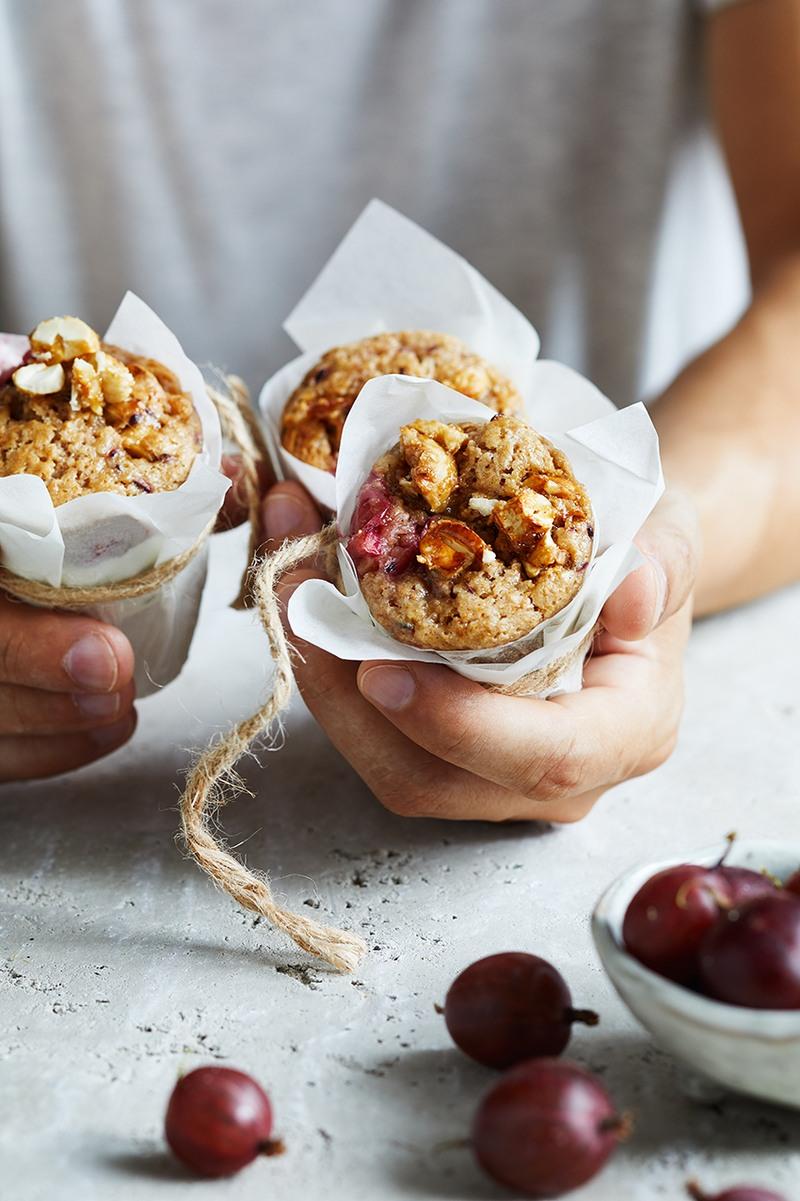 Rezept Gebrannte Cashew-Stachelbeer Muffins