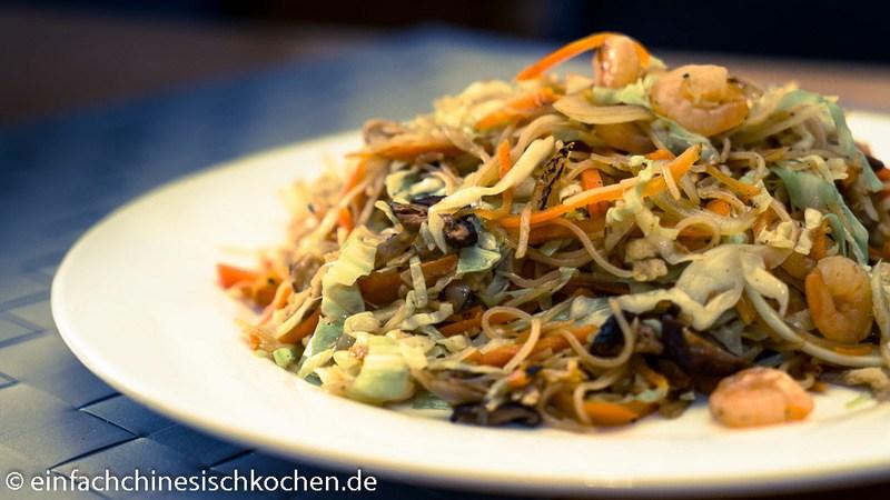 Rezept 虾仁炒米线 gebratene Reisnudeln mit Garnelen