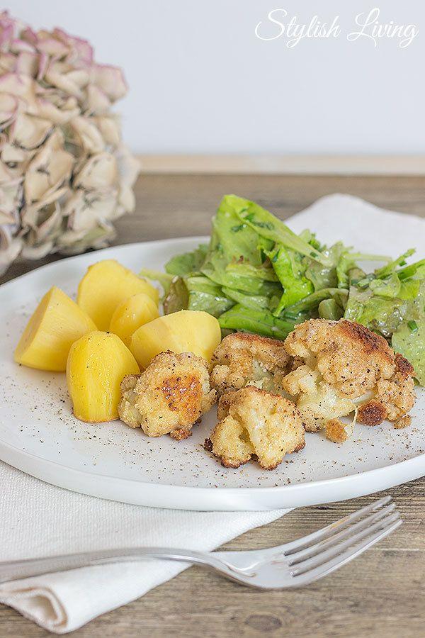Rezept Gebratener Blumenkohl mit Kartoffeln und Salat