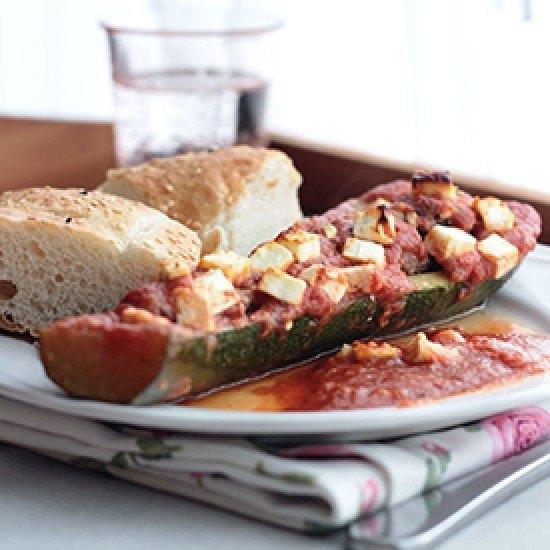 Rezept Gefüllte Zucchini mit Fladenbrot
