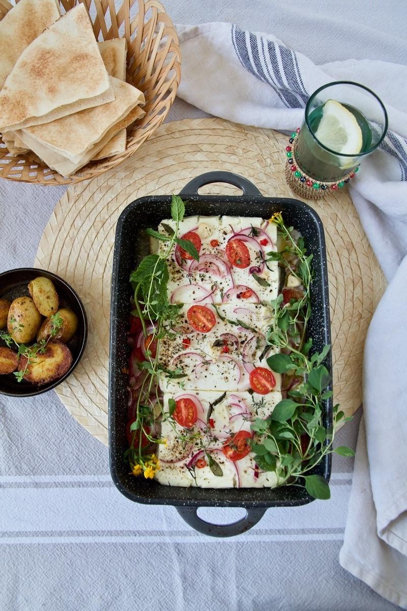Rezept Gegrillter Feta mit Tomaten und Kräuter
