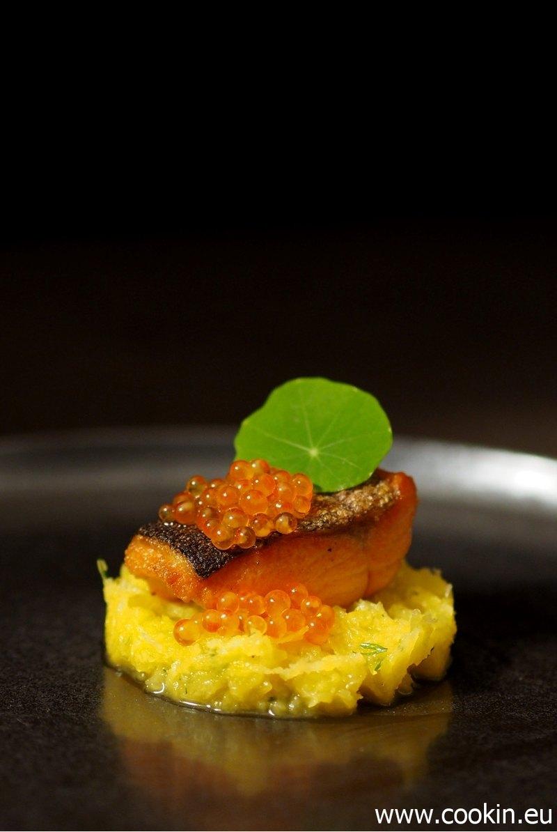 Rezept Gelbe Beete mit Dill und Ingwer, Lachsforelle, Forellen-Kaviar