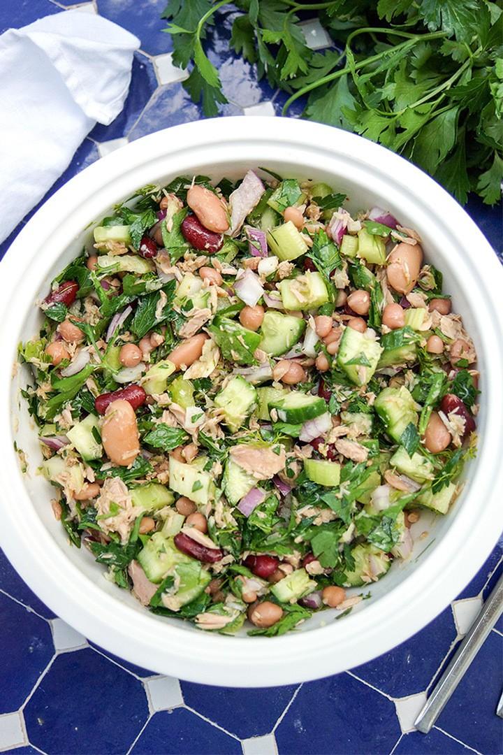 Rezept Gemischter Bohnensalat mit Thunfisch mediterrane Art