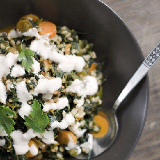 Rezept Gemüse mit Gerste und Gewürzjoghurt